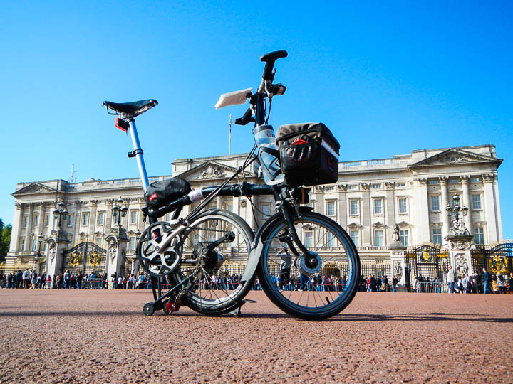 A Brompton in front of Buckingham Palace