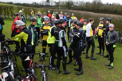Some of the 150 riders gathered outside at the start